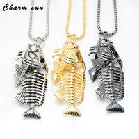 Stainless Steel Pendant Necklace men's Jewelry Retro Titanium Steel Fish Bone Pendant men's Jewelry Home Decoration Accessories