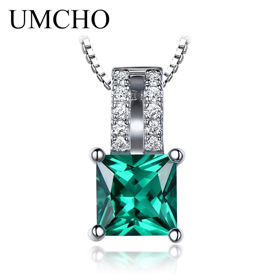 Pendentifs en argent Sterling pur 925 UMCHO pour femmes pendentif de mariage avec breloque émeraude taille princesse verte bijoux fins sans chaîne