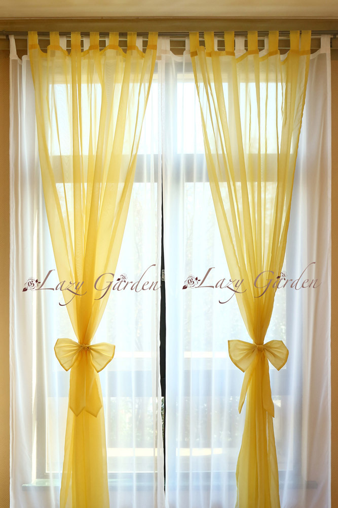 Free Shipping European Style Solid Color Voile Window Curtains Set For Living Room With Tiebacks Yellow White 140x245cm In From Home Garden