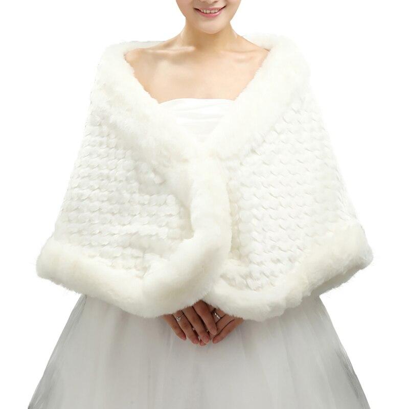 U SWEAR 2018 Hot Sale Warm Faux Fur Women Wedding Jackets White Ivory Thick Female Wedding Accessories Bridal Wraps Shawls in Wedding Jackets Wrap from Weddings Events