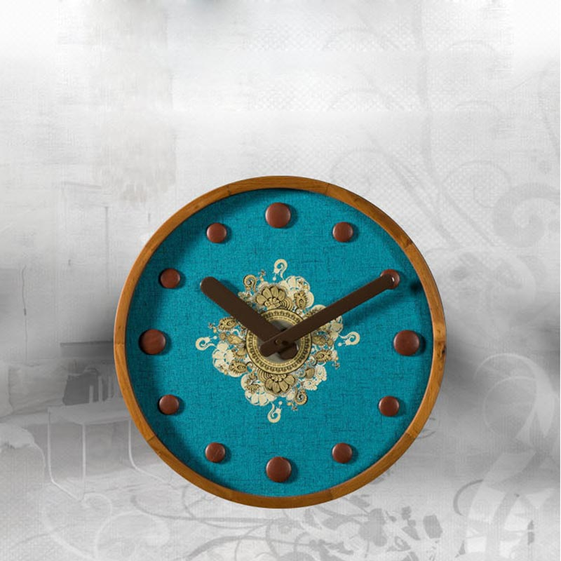 Horloge murale créative en bois paon bleu aiguille Quartz horloges murales Non-tissé numérique montre plaque bureau Vintage Art décoration