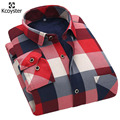 Kcoyster Cheques Grandes Camisas de Invierno Caliente Mens Plaid Camisas Casual Slim Fit Camisas A Cuadros para Los Hombres de Terciopelo Grueso de Ropa Térmica