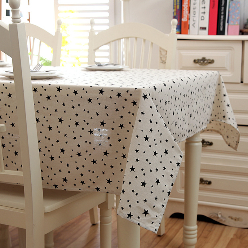 Customize Linen Cotton Modern simplicity Tablecloth Bohemia Black Wave Point Pentagram Pattern Table Cloth Wedding Table Cover in Tablecloths from Home Garden