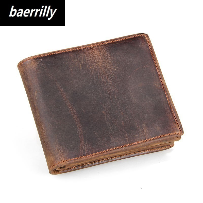 Fashion Mens Genuine Cow Leather Card Holder with Male Coin Purse for Zipper Walet Portomonee Rfid PORTFOLIO Small Mini Wallet