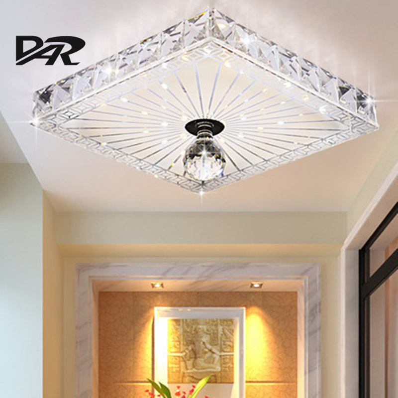 Free Shipping Square Crystal Corridor Light Home Lighting Modern Led Ceiling Lamp For Balcony Aisle lampara colgante de techo simple style ceiling light wooden porch lamp square ceiling lamp modern single head decorative lamp for balcony corridor study