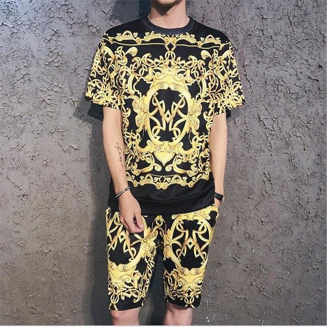 f6f33495b95ce Hip Hop 3D imprimió los hombres de ropa deportiva de manga corta Camiseta + Pantalones  cortos