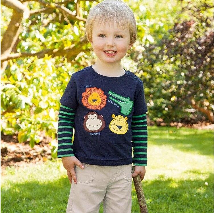 Children T-shirt Boys Clothes Boys Tops & Tees with Animal Appliques Kids Long Sleeve Sweatshirt Boys T shirts