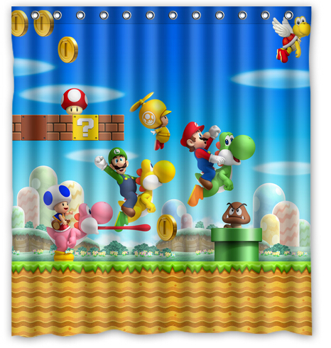 Super Mario Bros And Dinosaur Custom Personalized Waterproof 180x180cm Shower Curtain Bathroom Products Bath Curtains