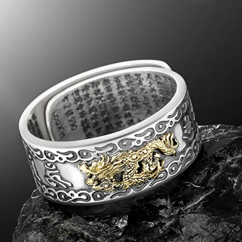 Six-character Silver <font><b>Rings</b></font> For Women Men Pixiu Charms Feng Shui Amulet Wealth Lucky Open Adjustable <font><b>Ring</b></font> <font><b>Buddhist</b></font> Jewelry Gift image