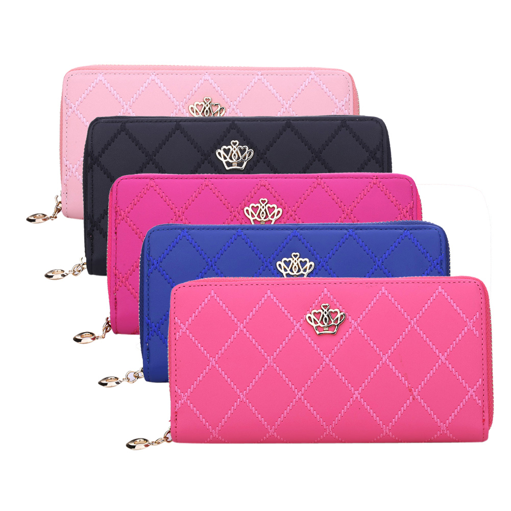 Women Wallet Leather Long Card Holder Zipper Handbag Crown Embellishment Plaid Wallets Female Purse Phone Case Money Bag simple organizer wallet women long design thin purse female coin keeper card holder phone pocket money bag bolsas portefeuille