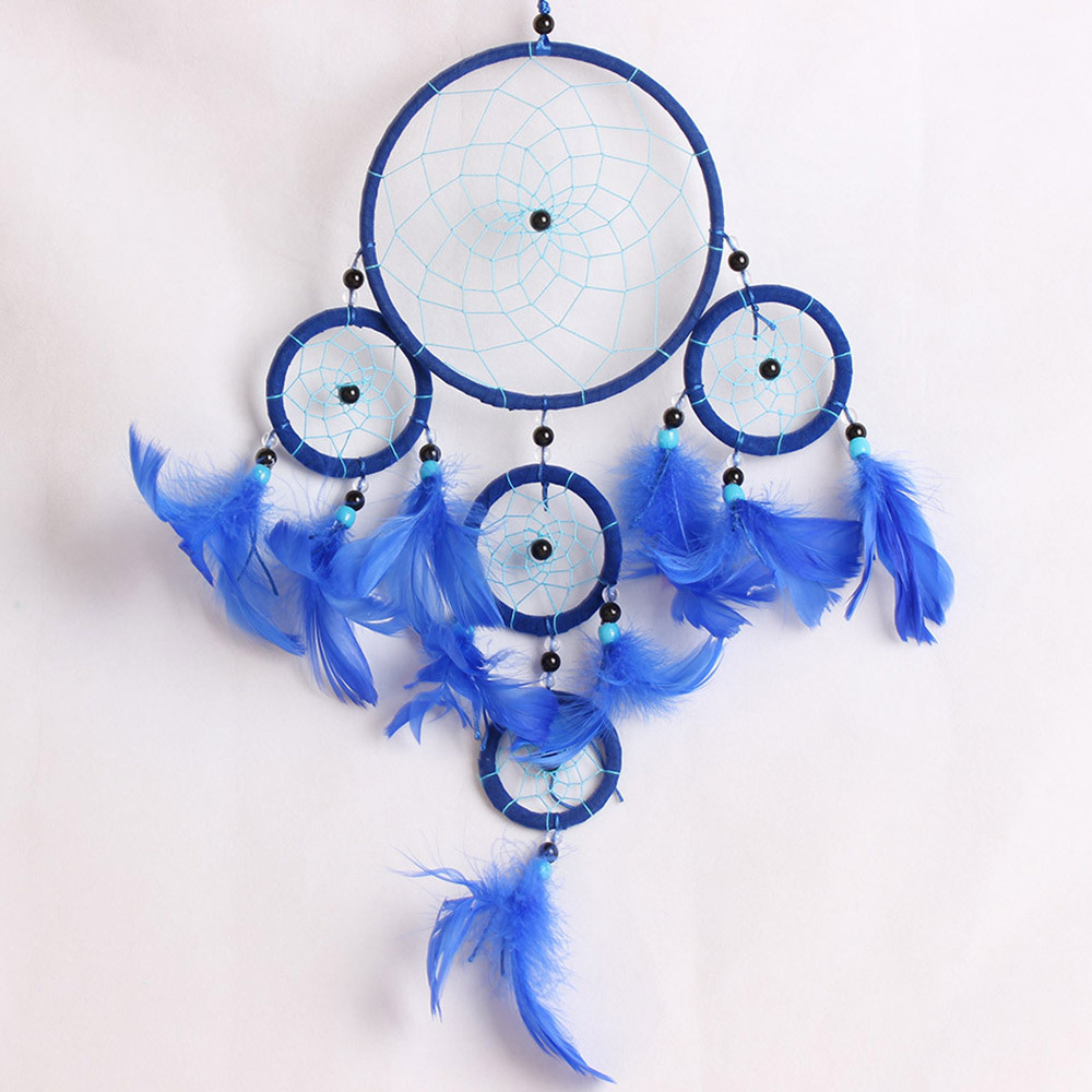 Blue Dream Catcher w// White Feathers Home Car Door Hanging Decor Collectible