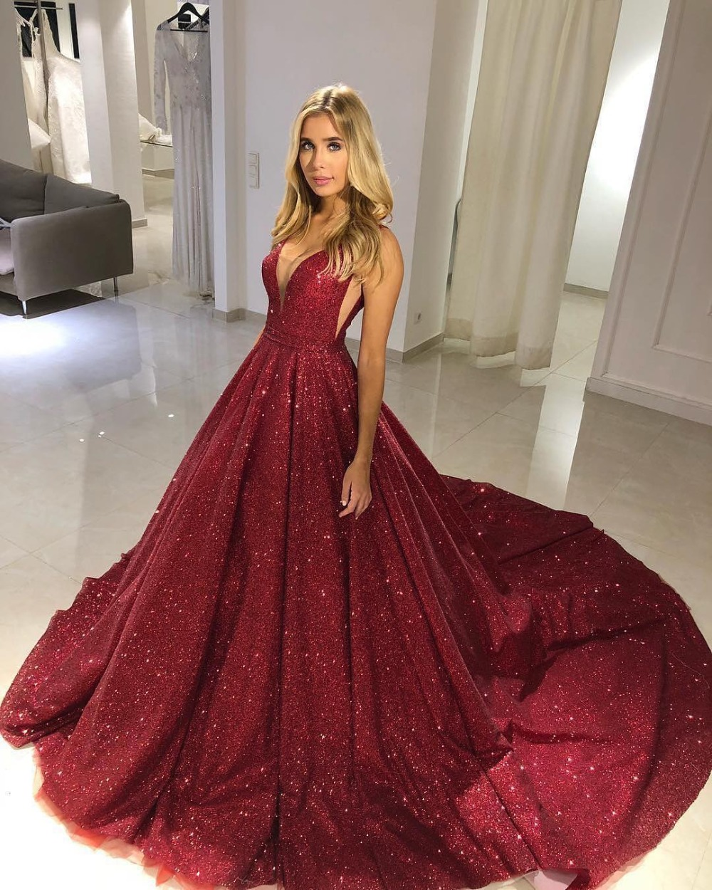 Red Ball Gown Dresses: Glitter Wine Red Sequin Prom Dress Ball Gown Deep V Neck