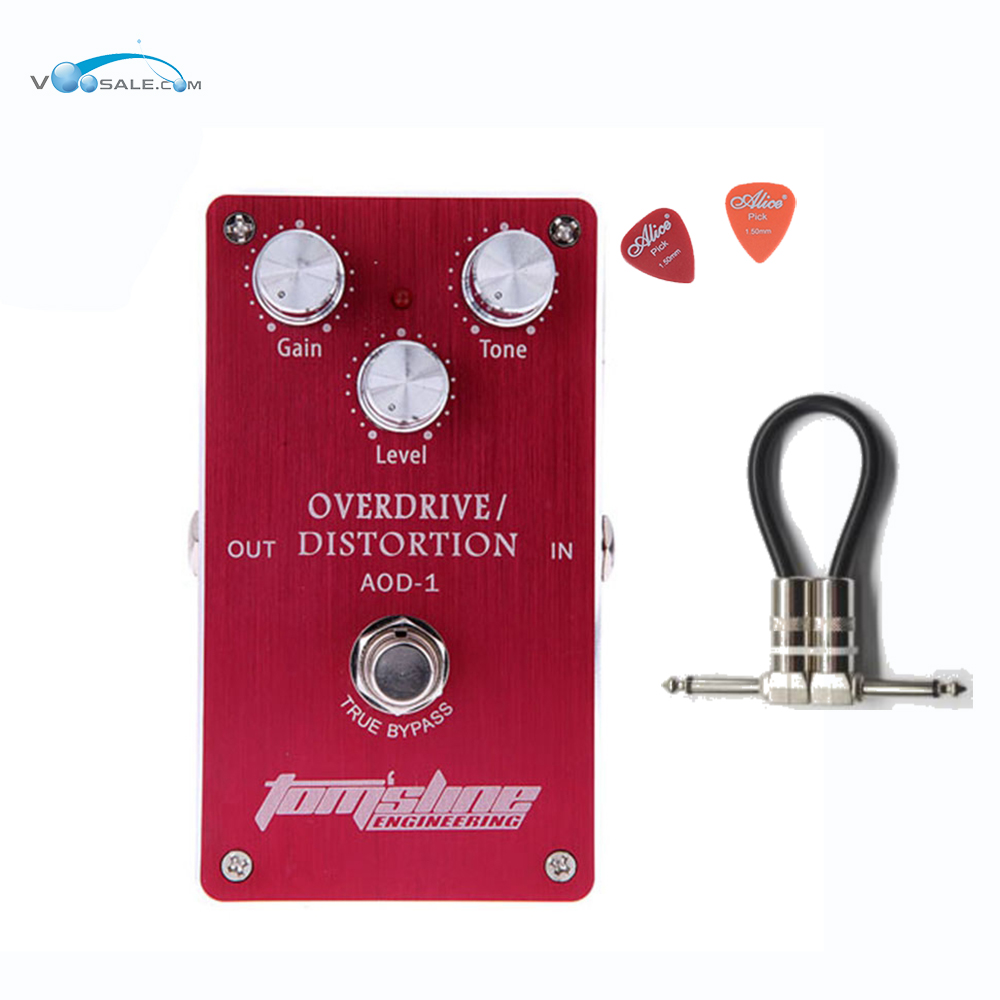 Aroma AOD-1 Overdrive Distortion Premium Analogue Guitar Effect Pedal DC9V Power Supply Alloy Housing Ture Bypass + Free Cable hot 5x aroma aod 1 electric guitar bass overdrive distortion effect pedal true bypass