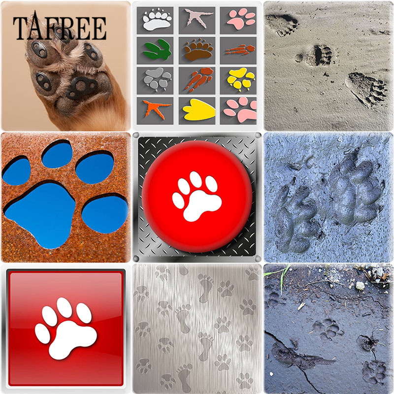TAFREE Aniaml Paw print Footprint Square 25mm DIY Glass Cabochon Art Picture Charms For Pendant Key Chains Necklace Decoration in Jewelry Findings Components from Jewelry Accessories