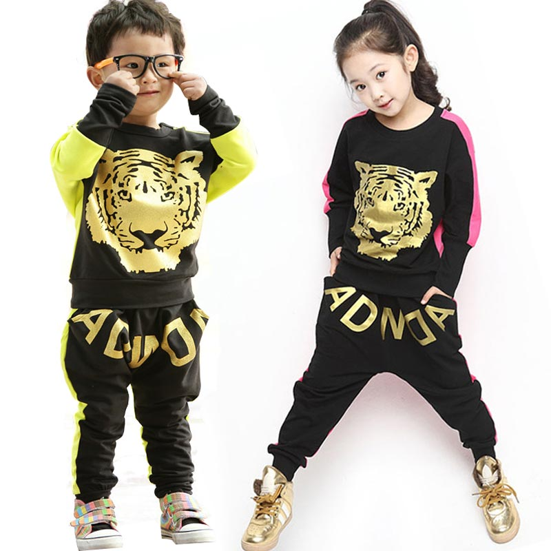 Hip Hop Clothing Sets Tracksuits for Kids Boutique Costumes Girls Set Boys Clothes Autumn Outfit 2 Pcs Tiger Print T-Shirt+Pants
