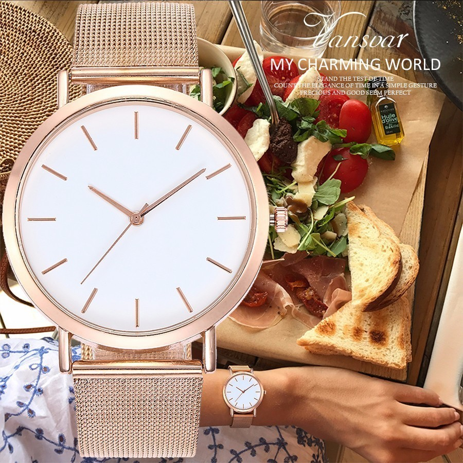 Hot Sale Women Rose Gold & Silver Wristwatches Fashion Luxury Women Simple Dial Quartz Watches Gift Clock Relogio Feminino