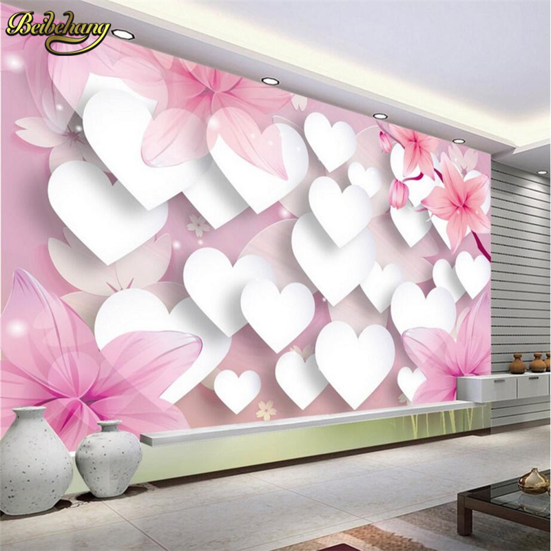 beibehang custom Warm romantic papel de parede 3D mural art painting mural wallpaper 3d living room TV backdrop photo wall paper  beibehang large custom wallpaper hd dream forest giraffe elephant elk 3d landscape painting papel de parede do desktop