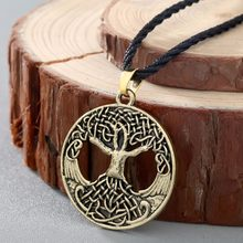 QIMING Norse Vikings Knot Amulet Pendant Necklace Women Soldiers Raven Tree of Life Charm Men Necklace Nordic Talisman Jewelry(Hong Kong,China)