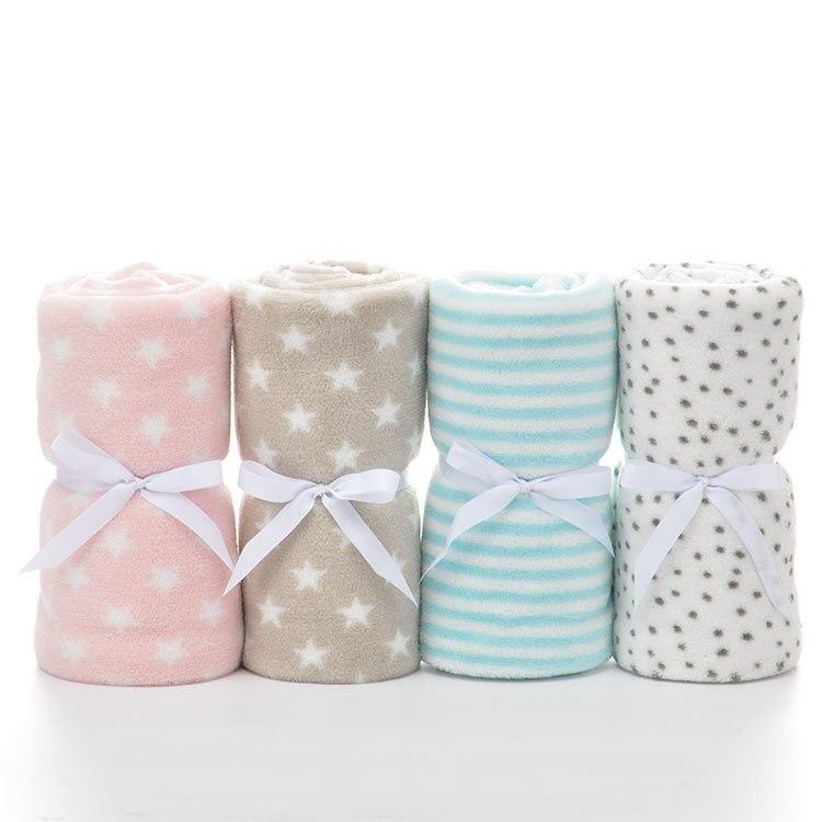 Baby Shawl Blanket Ribbon Tied Gift 75x100cm Blue Wrap