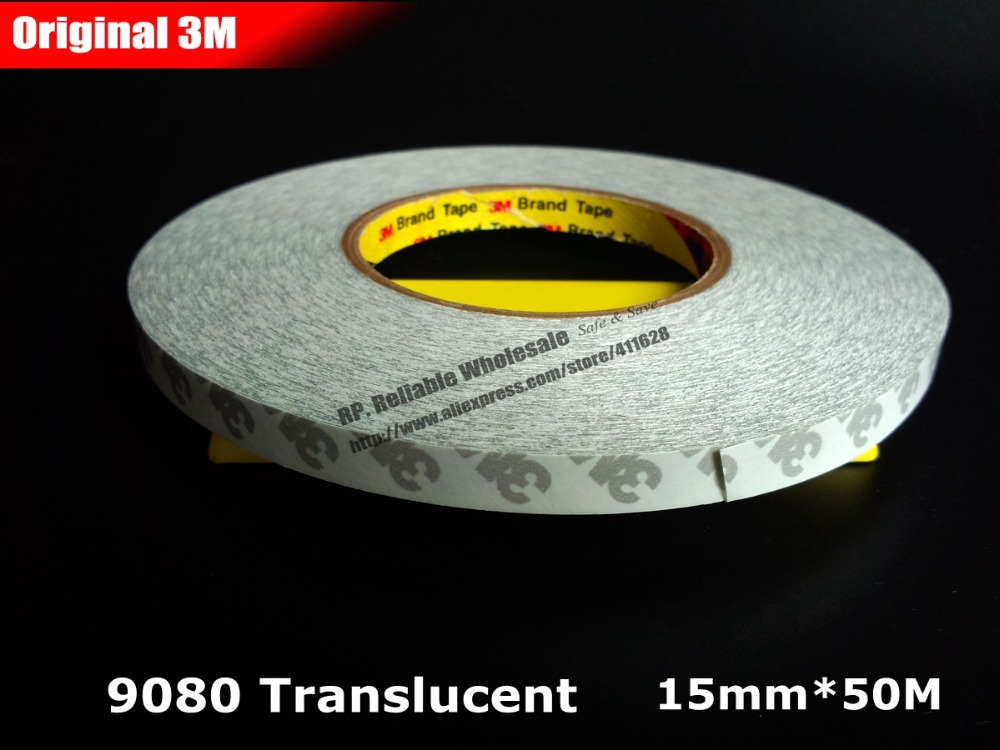 (15mm * 50 Meter) 3M 9080 Semitransparent Double Sided Adhesive Tape, Wide USE for LED Light, Car Auto Control Panel Phone LCD