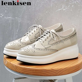 Lenkisen pointed toe breathable lace up sneakers genuine leather high bottom incresed classic Brogue shoes vulcanized shoes L9f6