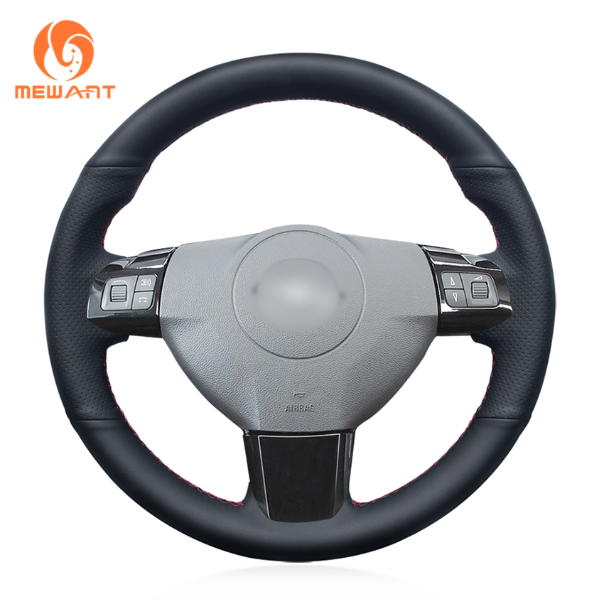 MEWANT Black Genuine Leather Car Steering Wheel Cover for Opel Astra 2005 2006 Vauxhall Astra for opel astra k vauxhall holden astra 2009 2015 leather dashmat dashboard cover car pad dash mat sunshade carpet cover car
