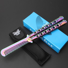 Stainless Steel Balisong Titanium Knife Foldable Training Not Practical Butterfly Knife C42 Color Pr
