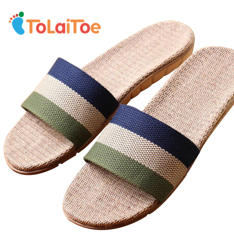 ToLaiToe Fashion Men New Pantofole da casa in lino Famale Silent Sweat pantofole a righe per gli uomini di estate fantastiche diapositive scarpe Unisex