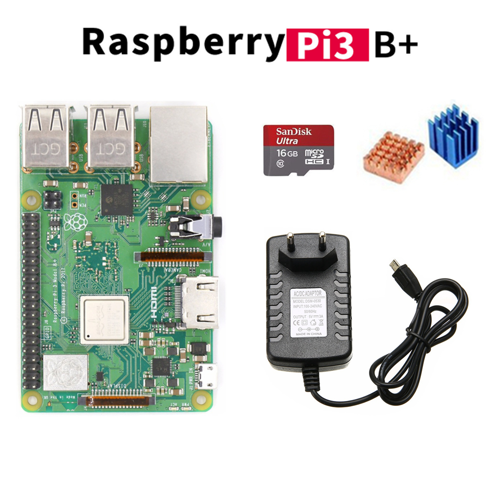 2018 New Arrival Starter Kits Raspberry Pi 3 Model B+ Raspberry Pi 3 B Plus + 5V 3A Power Supply Adapter 16Gb for RPI 3 B plus
