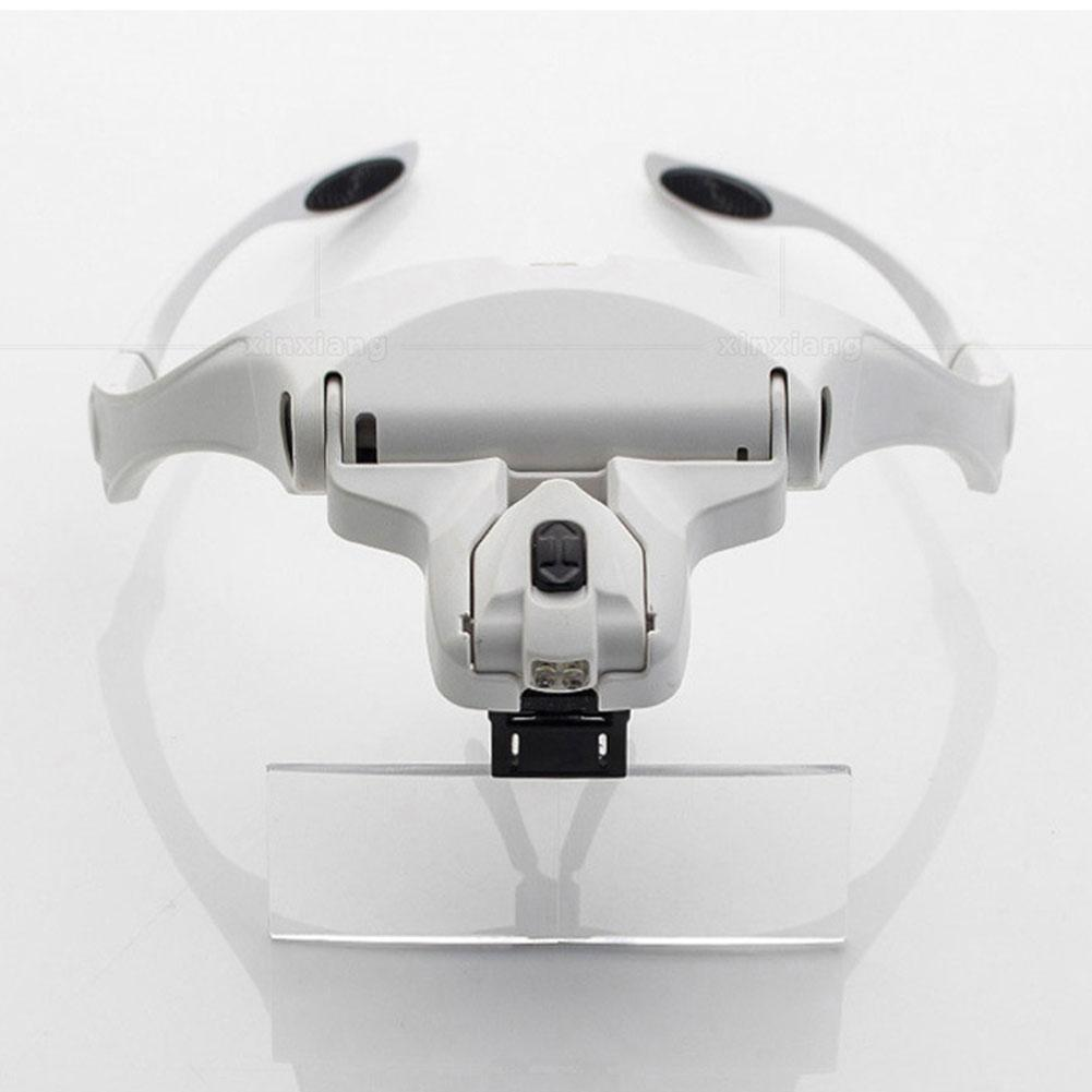 LanLan 1.0X-3.5X Adjustable 5 Lens Loupe Headband 2 LED Lights Magnifier Eyewear Magnifying Glass Lamp Jewelry lupa de aumento