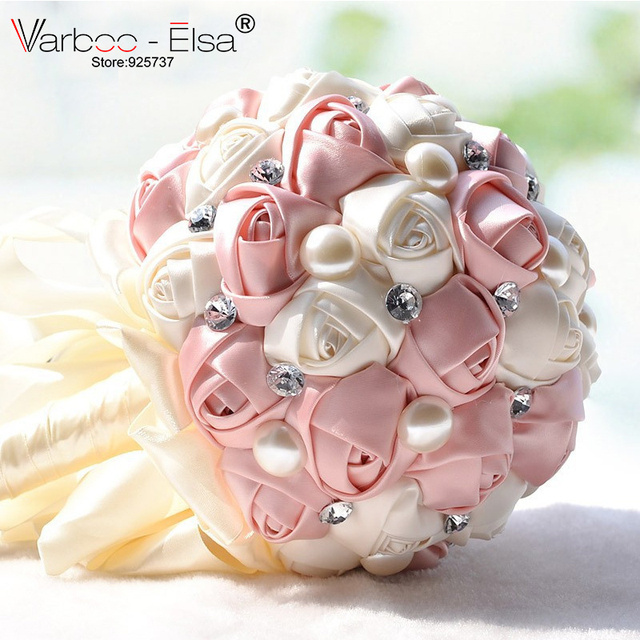 Bouquet De Mariee 5 Colors Crystal Pearls Wedding Bouquet Satin Wedding Flowers Bridal Bouquets Gorgeous Bouquet De Noiva 2018