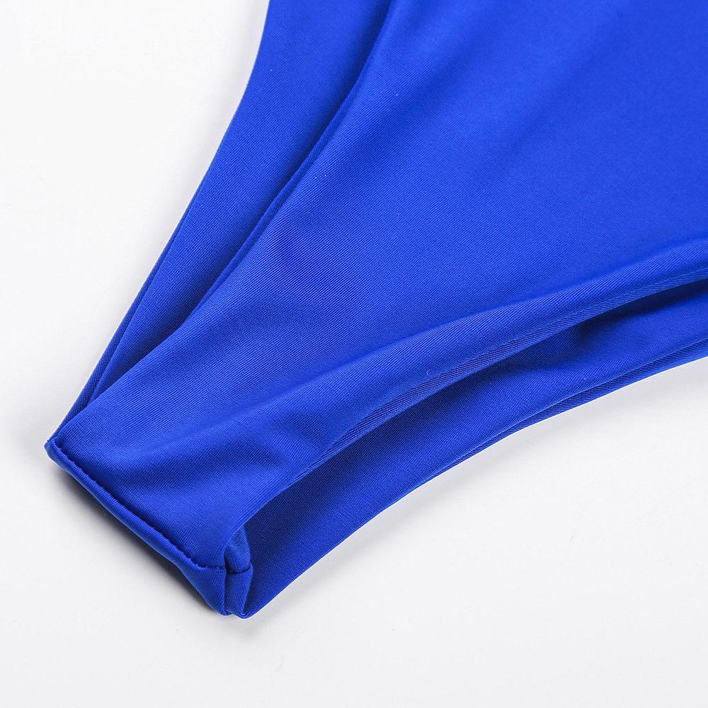 2018 Summer Women One Piece Swimsuit Intersecting Bandage Halter Swimwear Monokini Bathing Suit Push Up Unpadded Beachwear