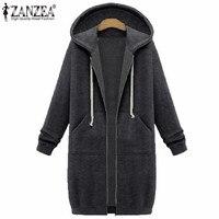 2016 ZANZEA Autumn Winter Women Cardigan Long Hooded Sweatshirt Coat Casual Pockets Zip Up Outerwear Hoodies
