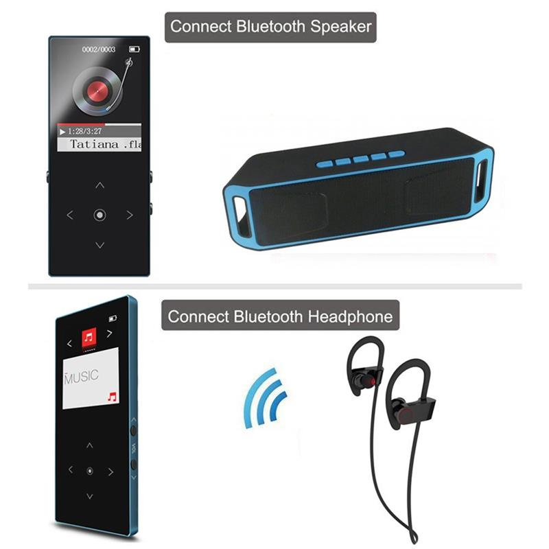 New 16GB Bluetooth MP3 Player Touch Key HiFi Sound Ultra thin Music Player 80 Hours Playback with FM Radio + mp3 player case