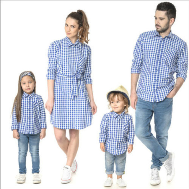 d5df0d53aa87 US $15.0 25% OFF|Family Matching Outfits Father Mother Daughter Long Sleeve  Shirt Mum Son Outfits Dress Plaid Clothing for Children Family Look-in ...