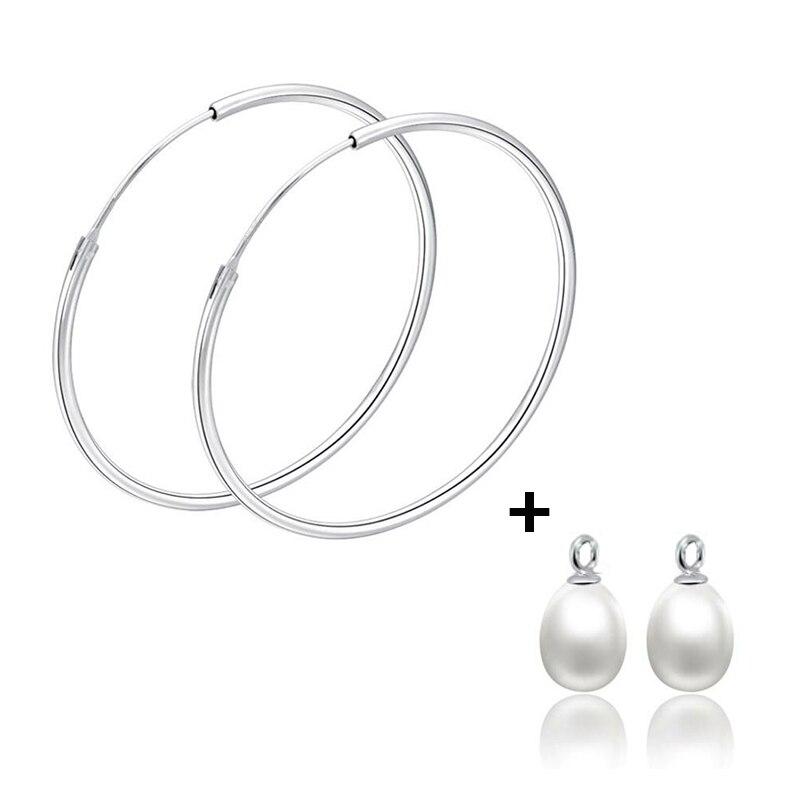 Sinya 925 sterling argent hoop cercle anneau boucle d'oreille pour les femmes 100% allergie livraison haute qualité naturel d'eau douce perles en option