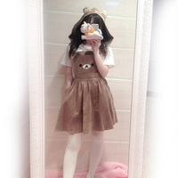 Women's Kawaii Rilakkuma Dress Cute Bear Embroidery Dress Lolita Overall Bandage Dress Summer Dress (Detachable Hood)