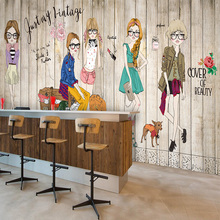 Бесплатная Доставка Массив дерева белый кирпич моды девушка обои современной гостиной спальня 3D обои большая фреска