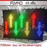 High End UK Standard Fireproof Cloth Double Layer Velvet Handmade HD P35 LED Video Wall 2x3m