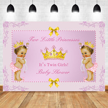 Twin Girls Baby Shower Backdrop Gold Crown Little Princesses Pink Photo Background Newborn Cake Table Banner Decorate Props