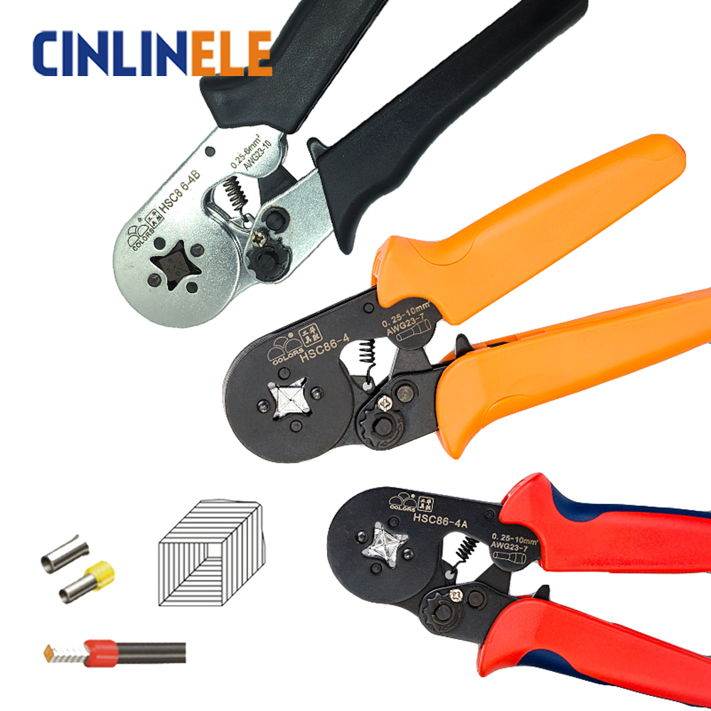 HSC8 6-4 0.25-6mm 23-10AWG,10S 0.25-10mm 23-7AWG terminal crimping Plier crimp Plier tool tube terminals crimper tool 6 50mm2 crimp copper tube terminal crimping crimper tc 385