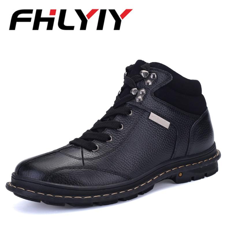 Brand Men'S Leather Winter Casual Snow Boots Winter Warm Plus Fur Snow Boots Waterproof Non-Slip Boots Botas Hombre Size 38-47