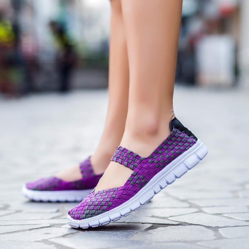 2017 Nueva Moda Para Mujer de Tejer Zapatos Primavera Verano zapatos Respirables