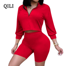 QILI Solid Two Piece Set Women Jumpsuit Rompers Autumn Long Sleeve Zipper Casual Soft Playsuit Streetwear 5 Color