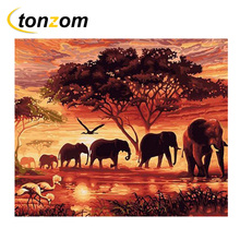 RIHE Sunset Elephant Family Drawing By Numbers DIY Animal Tree Painting Handwork On Canvas Oil Art Coloring For Home