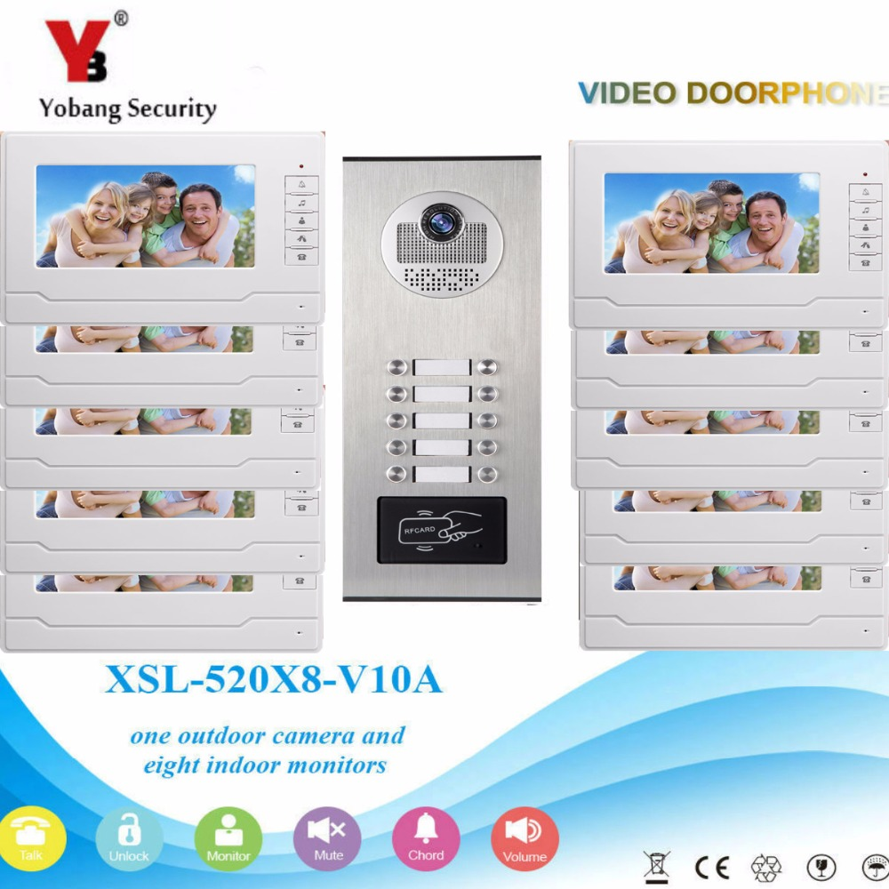 YobangSecurity 10 Unit Apartment RFID Access Control Video Intercom 7Inch Wire Video Door Phone Doorbell Intercom Camera SystemYobangSecurity 10 Unit Apartment RFID Access Control Video Intercom 7Inch Wire Video Door Phone Doorbell Intercom Camera System
