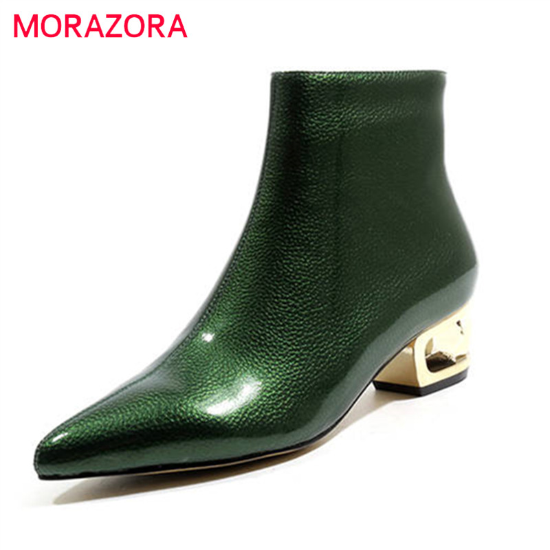 MORAZORA 2020 top quality ankle boots for women pointed toe autumn winter boots solid colors high