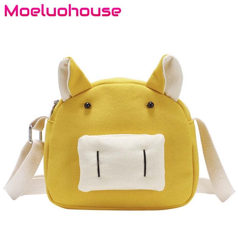 Moeluohouse Pig Shape Ears Korean Style Women Girl Shoulder Messenger Crossbody Bag Animal Srap Zipper Canvas Kawaii Cute Gift