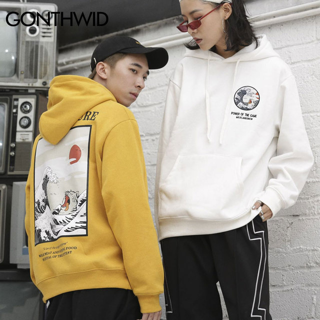 Japanese Embroidery Funny Cat Wave Printed Fleece Hoodies 5