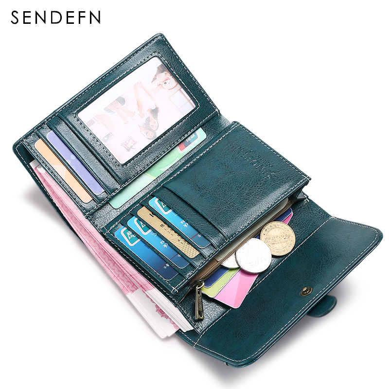 Split Leather Women Wallet Lady Short Purse 2017 New SENDEFN Fashion Vintage Style Female Wallets For Card Holder Money Pocket simline fashion genuine leather real cowhide women lady short slim wallet wallets purse card holder zipper coin pocket ladies